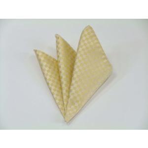 イエロー(黄色)市松模様ポケットチーフ(チーフ30cm) / 結婚式・披露宴・フォーマル・礼装/PC-IT003|allety