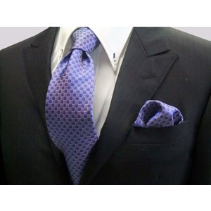 ブルー(青紫)市松模様ネクタイ&ポケットチーフセット(チーフ30cm) / CS-IT025|allety
