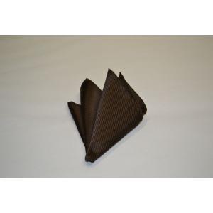 無地(縦ライン)/少し濃いブラウンの無地(ソリッド)ポケットチーフ(チーフ23cm) / PC-SO025|allety
