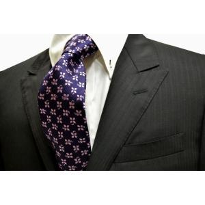 紫地にピンクの4つ葉のクローバー小紋柄ネクタイ / KMN-18S-001|allety