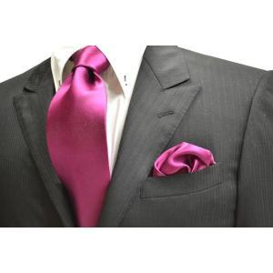 無地(シルクサテン)/濃いローズピンクのネクタイ・チーフセット(チーフ23cm) / CS-AP006|allety