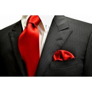 無地(シルクサテン)/綺麗な赤のネクタイ&ポケットチーフセット(チーフ23cm) / CS-AP013|allety