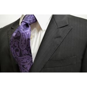 黒に近い紫地に紫の大きなペイズリー柄のネクタイ / PEZ-006|allety
