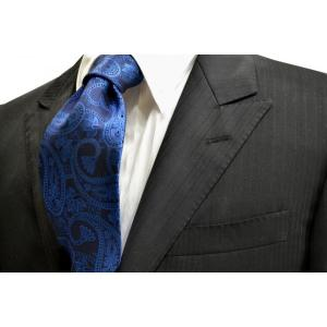 黒に近い紺地に濃いブルーの大きいペイズリー柄ネクタイ / PEZ-007|allety