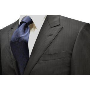 濃いネイビーのペイズリー織柄・無地(ソリッド)ネクタイ / PEZ-003|allety