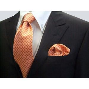 オレンジ市松模様ネクタイ&ポケットチーフセット(チーフ30cm) / CS-IT016|allety