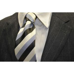 グレー、水色、ホワイトの(組織変化)ストライプネクタイ  / STN-19S017|allety