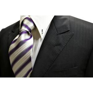 織柄の白地に紫とグレーのストライプネクタイ / 結婚式・披露宴・フォーマル・礼装/STN-W13033|allety