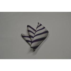 織柄の白地に紫とグレーのストライプポケットチーフ(チーフ23cm) / 結婚式・披露宴・フォーマル・礼装/PCN-SW13033|allety