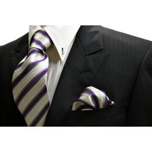 織柄の白地に紫とグレーのストライプネクタイ&チーフセット(チーフ23cm) / 結婚式・披露宴・フォーマル・礼装/CSN-W13033|allety