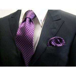 少し明るめの紫(パープル)市松模様ネクタイ&ポケットチーフセット(チーフ30cm) / CS-IT026|allety