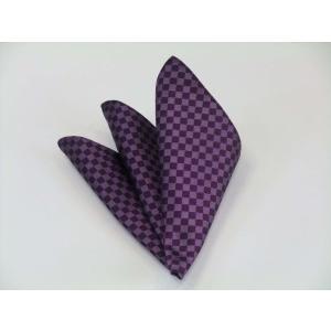 無地(縦ライン)/少し明るめの紫(パープル)市松模様ポケットチーフ(チーフ30cm) / PC-IT026|allety
