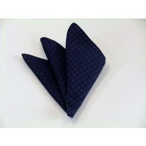 紺色(ネイビー)の市松模様ポケットチーフ(チーフ23cm) / PC-IT006|allety