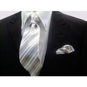 シルバーグレー地にグレーと白のストライプ(チーフ23cm) / 結婚式・披露宴・フォーマル・礼装/20%OFF/CS076|allety