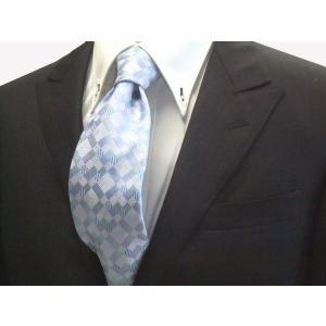 水色とブルー(青)の4色のグラデーション市松模様ネクタイ / ITG006|allety