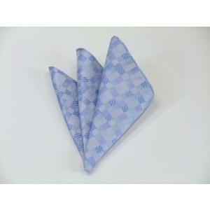 水色とブルー(青)の4色のグラデーション市松模様ポケットチーフ(チーフ23cm) / PC-IG006|allety