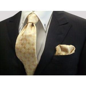 黄色とゴールドのグラデーション(4色)の市松模様ネクタイ&ポケットチーフセット(チーフ23cm) / CS-IG005|allety