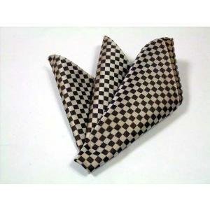 ベージュ×ブラウンの市松模様ポケットチーフ(チーフ23cm) / PC-IT004|allety