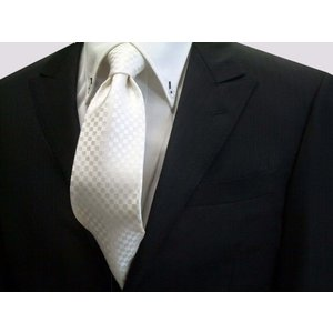 白(ホワイト)(少し黄身かかっています)結婚式用市松模様ネクタイ / 結婚式・披露宴・フォーマル・礼装/IT008|allety