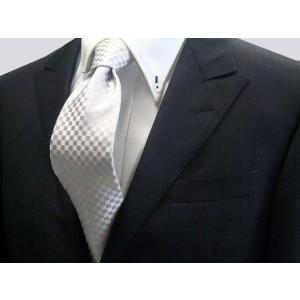 シルバーグレー結婚式用 市松模様ネクタイ / 結婚式・披露宴・フォーマル・礼装/IT011|allety