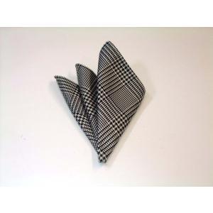 黒(ブラック)と白のグレンチェックポケットチーフ(チーフ30cm) / PCN-GR001 allety