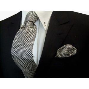 黒(ブラック)と白のグレンチェックネクタイ&ポケットチーフセット(チーフ23cm) / CSN-GR001 allety