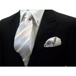 シルバーグレー地に白とラベンダーとピンクのストライプネクタイ&チーフセット(チーフ23cm) / 結婚式・披露宴・フォーマル・礼装/CSN-S101026|allety