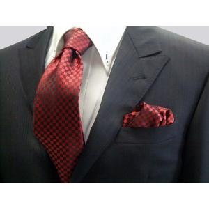 濃い赤(レッド)の市松模様ネクタイ&ポケットチーフセット(チーフ30cm) / CS-IT010|allety