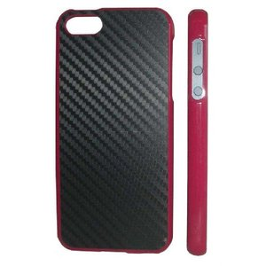 iPhone5カバー カーボン Pinkケース/Black carbon|allfolia