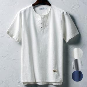 ロゴ刺繍 白シャツ 半袖シャツ リネンシャツ カジュアルシャ...
