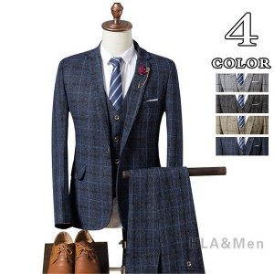 3ピーススーツ スリーピーススーツ メンズ ビジネススーツ 1つボタン チェック柄 紳士 スリムスー...