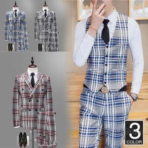 メンズ 3ピーススーツ ダブルスーツ ビジネススーツ スーツ チェック柄 フォーマル 通勤 紳士 結婚式 新生活 敬老の日|allforever