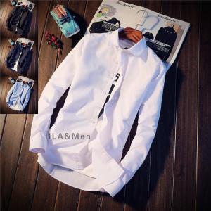 白シャツ メンズ シャツ カジュアルシャツ 長袖 スリムシャツ ワイシャツ 無地シャツ トップス お...