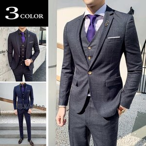 スーツ メンズ 3ピーススーツ ビジネススーツ スリムスーツ 1つボダン セットアップ 紳士服 就活 新生活 敬老の日|allforever