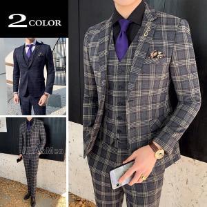 スーツ メンズ 3ピース ビジネススーツ 2つボダン セットアップ スリムスーツ チェック柄 シングルスーツ 新生活 敬老の日|allforever