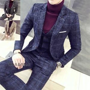 スーツ メンズ 3ピーススーツ ビジネススーツ 1つボタン チェック柄 スリムスーツ 結婚式 就活 紳士服 新生活 敬老の日|allforever