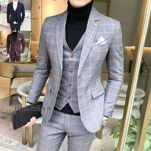 スーツ メンズ スリーピーススーツ ビジネススーツ 3ピース 細身 2つボタン 紳士服 入学式 卒業式 チェック柄 新生活 敬老の日|allforever