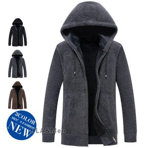 フリースジャケット ポアジャケット メンズ 裏起毛 ジャケット アウター フード付き 40代 50代 防寒 allforever