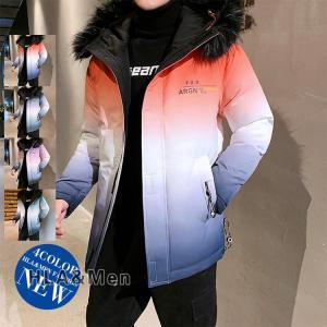 厚手ジャケット メンズ 中綿ジャケット カラー配色 中綿コート 防寒 アウター フード付き おしゃれ allforever