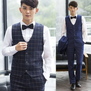 ジレベスト メンズ 紳士服 チェック 格子 シャツに似合う スーツベスト 韓版 結婚式 パーティー カジュアル
