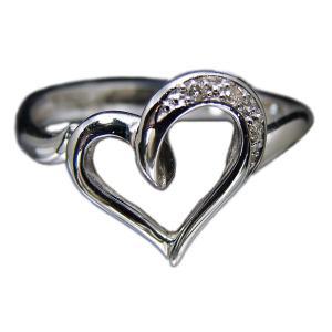 リング 指輪 18金 ホワイト ゴールド K18 WG ダイヤ ダイヤモンド オープン ハート open heart レディース 送料無料 新品|alliegold