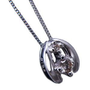 18金ホワイトゴールド(K18WG) 天然ダイヤモンド2ストーンデザインペンダントネックレス【NC12600】|alliegold