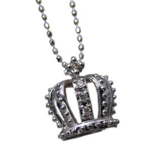 18金ホワイトゴールド(K18WG) 天然ダイヤモンドクラウン(王冠)CROWNデザインペンダントネックレス【NC12600】|alliegold