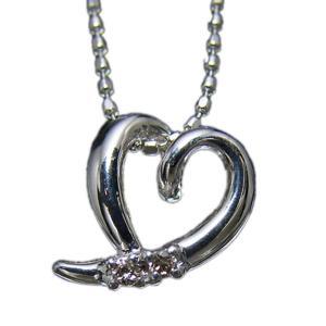 ペンダント ネックレス 18金 ホワイト ゴールド K18 WG ダイヤモンド ダイヤ オープン ハート OPEN HEART レディース 送料無料 新品 NC12600|alliegold