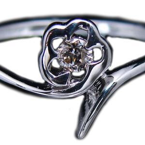 18金ホワイトゴールド(K18WG) ダイヤモンドコサージュみたいなフラワーデザインリング|alliegold