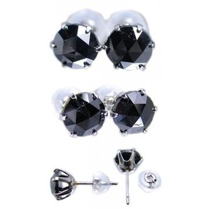 イヤリング ピアス pierced プラチナ Pt900 ローズ カット ブラック ダイヤモンド ダイヤ トータル 2カラット total 2.0 ct スタッド  レディース メンズ|alliegold|02