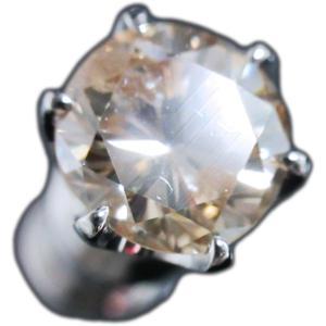 ピアス シングル 片 耳 方 プラチナ Pt900 一粒 ファンシー ライト ブラウン ダイヤモンド ダイヤ 0.8 カラット 0.80 ct 手作り 6 本 点 爪  レディース メンズ|alliegold