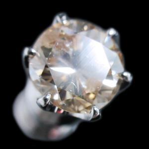 ピアス シングル 片 耳 方 プラチナ Pt900 一粒 ファンシー ライト ブラウン ダイヤモンド ダイヤ 0.8 カラット 0.80 ct 手作り 6 本 点 爪  レディース メンズ alliegold 02