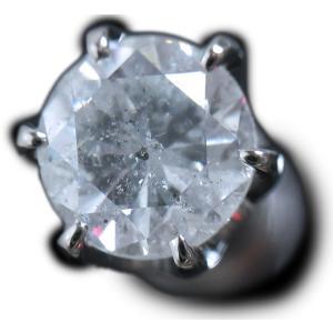 ピアス pierced シングル 片 耳 方 プラチナ Pt900 一粒 ダイヤモンド ダイヤ dia 0.8 カラット 0.80 ct 手作り 6 本 点 爪  レディース メンズ|alliegold
