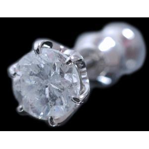 ピアス pierced シングル 片 耳 方 プラチナ Pt900 一粒 ダイヤモンド ダイヤ dia 0.8 カラット 0.80 ct 手作り 6 本 点 爪  レディース メンズ|alliegold|02